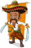 Cartoon funny mexican bandit with pistol Royalty Free Stock Images