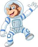 Cartoon funny monkey wearing astronaut costume Stock Photos