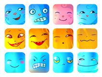 Cartoon Funny Monster Faces Set. With different emotions and expressions on squares  vector illustration Stock Photo