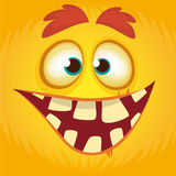 Cartoon funny monster. Halloween vector illustration of monster face avatar. stock illustration