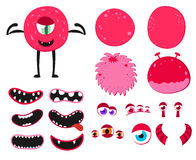 Cartoon funny monsters creation kit. Create your own monster set. Vector illustration. Royalty Free Stock Photo