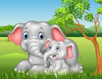 Cartoon funny Mother and baby elephant on jungle background Royalty Free Stock Photo