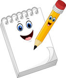 Cartoon funny note book paper with pencil Royalty Free Stock Photography