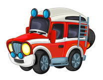 Cartoon funny off road fire fighter truck isolated Royalty Free Stock Images
