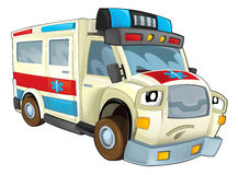 Cartoon funny off road fire fighter truck isolated Stock Photo