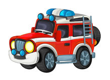 Cartoon funny off road fire fighter truck isolated Stock Images