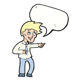 cartoon funny office man pointing with speech bubble Royalty Free Stock Photos