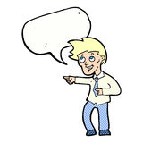 cartoon funny office man pointing with speech bubble Royalty Free Stock Photography