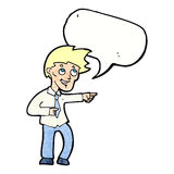 cartoon funny office man pointing with speech bubble Stock Photo