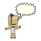Cartoon funny old robot with speech bubble Stock Photo