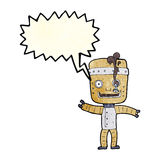 Cartoon funny old robot with speech bubble Stock Images