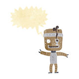 Cartoon funny old robot with speech bubble Stock Photography