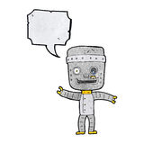 Cartoon funny old robot with speech bubble Stock Photos