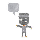 Cartoon funny old robot with speech bubble Royalty Free Stock Photo