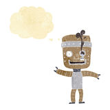 Cartoon funny old robot with thought bubble Royalty Free Stock Photos