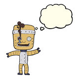 Cartoon funny old robot with thought bubble Royalty Free Stock Images