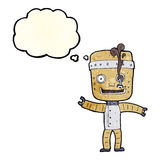 Cartoon funny old robot with thought bubble Stock Images