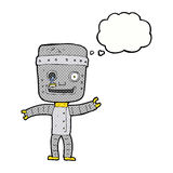 Cartoon funny old robot with thought bubble Royalty Free Stock Photography
