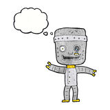 Cartoon funny old robot with thought bubble Stock Photo