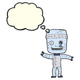 Cartoon funny old robot with thought bubble Royalty Free Stock Image