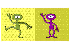 Cartoon funny one eyed alien dancing Stock Image