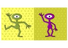 Cartoon funny one eyed alien dancing. Illustration of cartoon funny one eyed alien dancing Stock Image