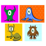 Cartoon funny one eyed colorful animals. Illustration of cartoon funny one eyed colorful animals namely, owl, cat and seal Stock Image