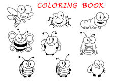 Cartoon funny outline insect characters Royalty Free Stock Photos