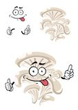 Cartoon funny oyster mushroom character Royalty Free Stock Image