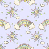 Cartoon funny pattern with sun, rainbow, star. Cartoon funny pattern with sun, rainbow, star on a purple background Royalty Free Stock Images