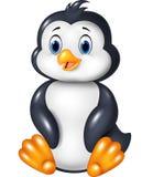 Cartoon funny penguin sitting isolated on white background Royalty Free Stock Images