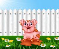 Cartoon funny pig playing in the mud Stock Photos