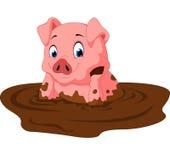 Cartoon funny pig sitting Stock Photography