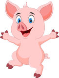 Cartoon funny pig waving hand isolated on white background Royalty Free Stock Photography