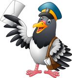Cartoon funny pigeon bird delivering letter. Illustration of Cartoon funny pigeon bird delivering letter Royalty Free Stock Images