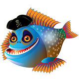 Cartoon funny piranha. In pirate cap with bone and skull Stock Photography