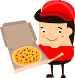 Cartoon funny pizza delivery man  illustration on a white background. Royalty Free Stock Images