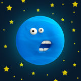 Cartoon funny planet plasticine or clay. Royalty Free Stock Image