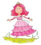Cartoon funny princess with a golden crown Stock Photos