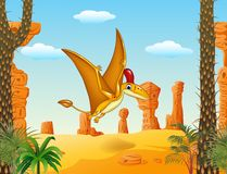 Cartoon funny pterodactyl flying with prehistoric background Royalty Free Stock Images