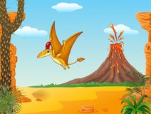 Cartoon funny pterodactyl flying with Volcano background Stock Photo
