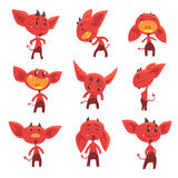 Cartoon funny red devil characters with different emotions set of vector Illustrations. Isolated on white background Stock Images