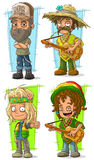 Cartoon funny redneck farmer with guitar character vector set Royalty Free Stock Photography