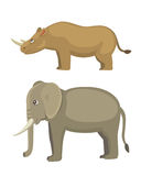 Cartoon funny rhinoceros and elephant Isolated on white background.  Royalty Free Stock Image