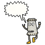 Cartoon funny robot with speech bubble Stock Images