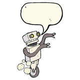Cartoon funny robot with speech bubble Stock Photos