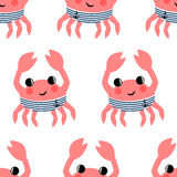 Cartoon funny sailor crab seamless pattern. Royalty Free Stock Image
