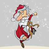 Cartoon funny Santa Claus happily runs on the hop Stock Photo