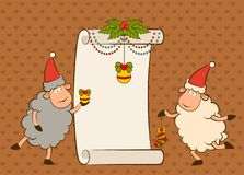 Cartoon funny Santa Claus sheep Stock Image