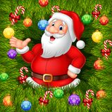 Cartoon funny Santa Clause presenting with Christmas decoration vector illustration